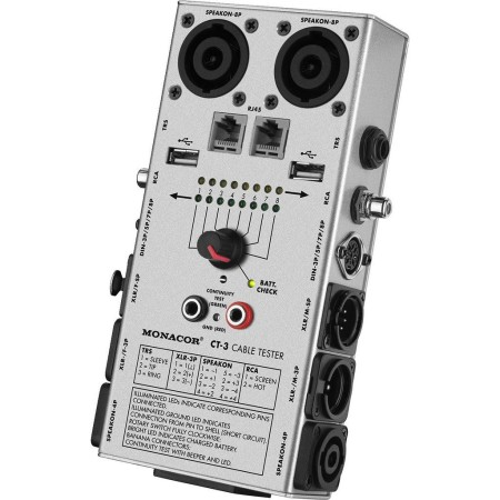 Monacor Cable tester for XLR, 6.3 mm jack, RCA, Din, Speakon, USB, RJ45 model CT-3