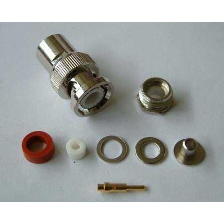 BNC-Male Soldeer connector. Clamp RG 58 (10 stuks)