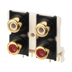 RCA panel print 4 jacks Gold-plated contact T-740G (10 stuks)